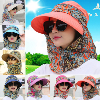 Fashion Women Summer Outdoor Riding Anti-UV Sun Hat Beach Foldable Sunscreen Floral Print Caps Neck Face Wide Brim - discount item  30% OFF Hats & Caps