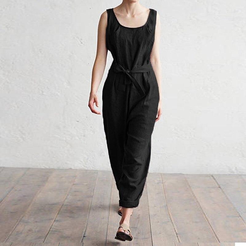 5Xl Women Jumpsuit Summer Work Harem Pant Office Jumpsuit Sleeveless Black Jumpsuit Elegant Casual Loose Overalls
