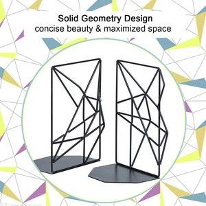 Image 5 - Новинка черные закладки, декоративные металлические книжные концы для полок, уникальный геометрический дизайн для полок, кухонных поваренных книг, декоратов