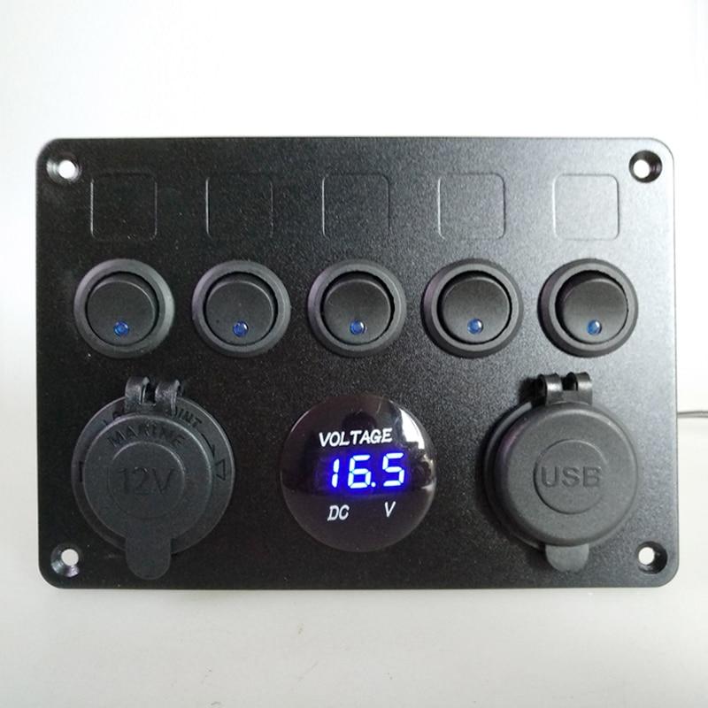 led rocker switch painel voltímetro dupla usb