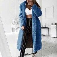 Frauen Herbst Winter Faux Pelz Jacken Beiläufige Lose Einfarbig Lange Teddy Mantel Mode Weiche Plüsch Dicke Frauen Jacke Mantel mujer