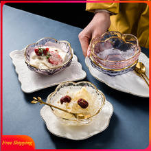 High-end Dessert Bowl European-style Transparent Glass Small Bowl Salad Yogurt Breakfast Tableware Fruit Bowl with Spoon Plate