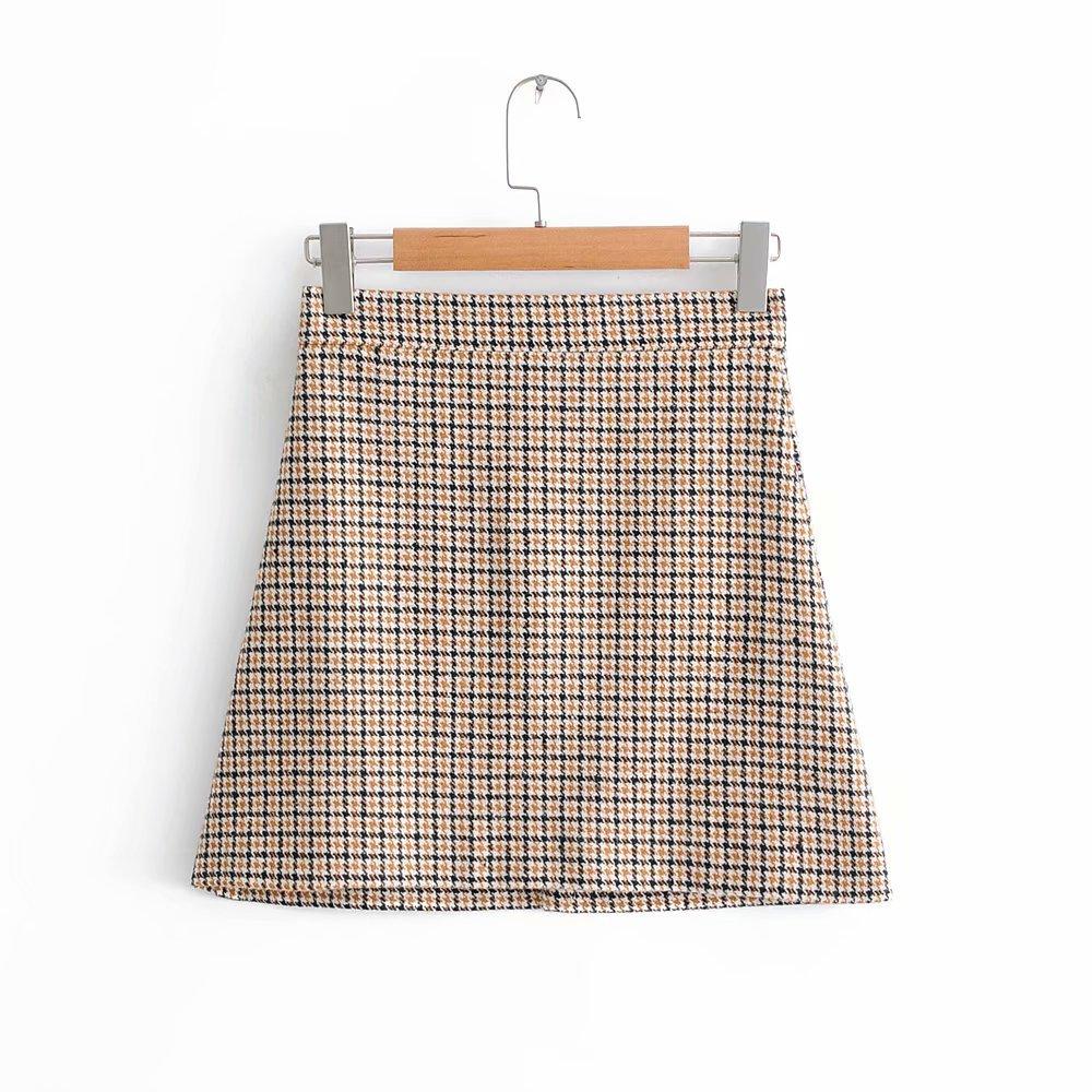 4571-1036 Trend WOMEN'S Dress Batch Vintage Woolen Pattern A- Line Short Skirt Autumn And Winter High-waisted Versatile Skirt