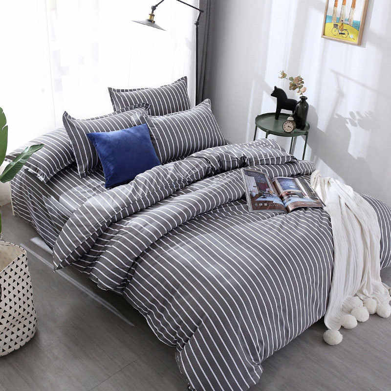 Gray Stripe 4pcs Kid Bed Cover Set Cartoon Duvet Cover Adult Child Bed Sheets And Pillowcases Comforter Bedding Set 2TJ-61003