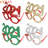 New Year 2021 Glasses Photo Booth Props Merry Christmas Ornaments Natale New Year Eve Xmas Party Decorations Supplies