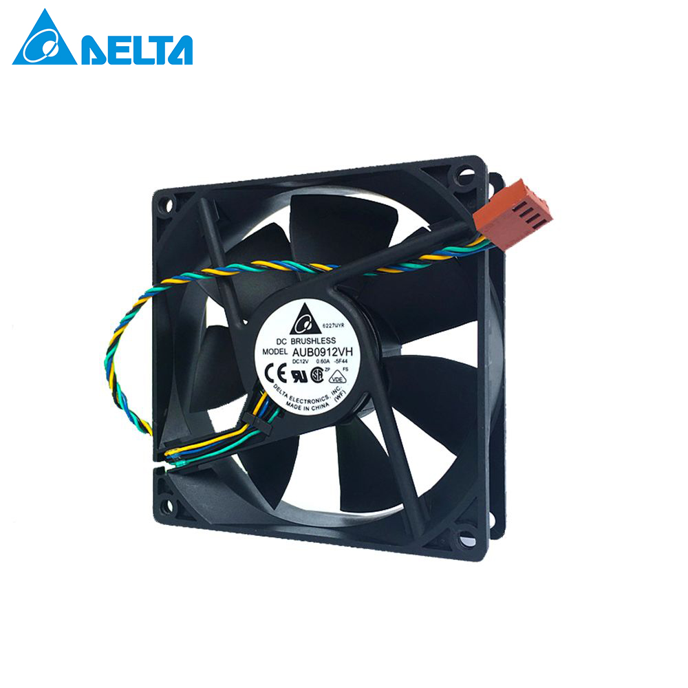 For Delta AFB0912VH = AUB0912VH 9cm 90mm FAN AXIAL 92X92X25.4MM 12V  9225 DC 12V 0.60A 4-pin WIRE Pwm Computer Cpu Cooling Fans