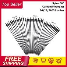 26/28/30/32 polegadas espinha 500 carbono/fibra de vidro seta com cor preta e branca para recurvo/arco composto caça tiro com arco