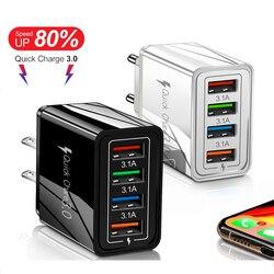 4 portas ue/eua plug usb carregador rápido para o telefone adaptador de porta múltipla para huawei/xiaomi tablet portátil carregador de parede móvel