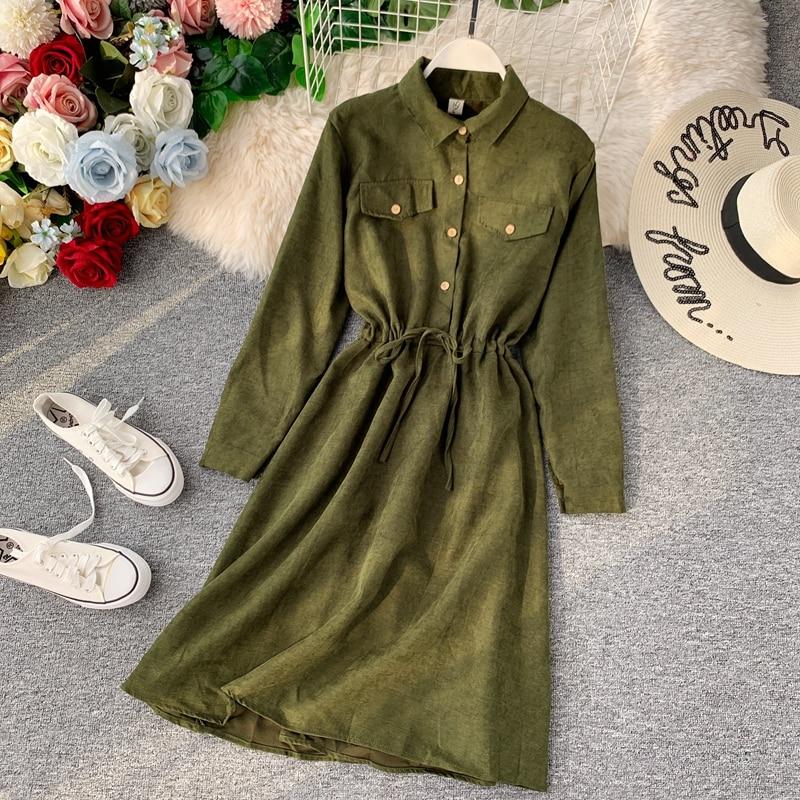 Women's Shirt Dress Autumn Long Sleeve Turn Down Collar Waist Tie Solid Bandage Dress Loose A-LINE Dress Fashion 7 Colors LS165