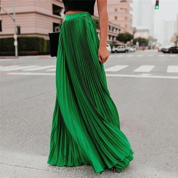 Pleated Chiffon High Waist Women's Maxi Skirts Floor Length Solid Long Skirt Ladies 2020 Loose Green Black Pink Bottoms Female