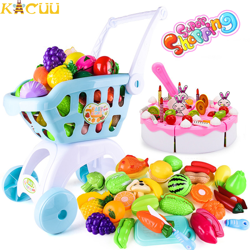 Children Handcart Simulation Supermarket Hand Trolley Mini Shopping Cart Creative Play Role In Pretend Game Toys Gifts For Kids