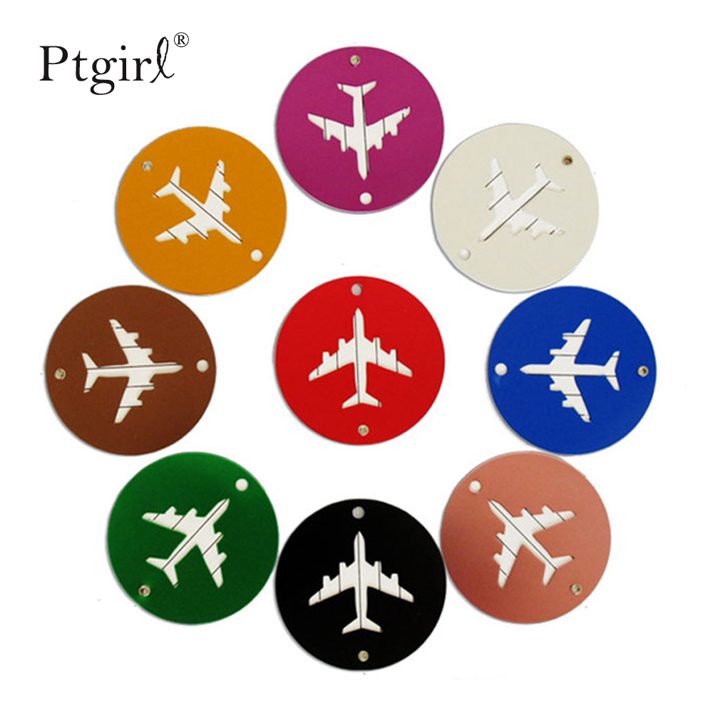 Aluminium Alloy Circle Luggage Tags Airplane Shape Checked Boarding Elevators Ptgirl Travel Accessories 2019 Fashion Luggage Tag image