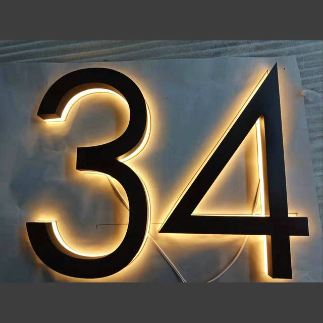 "Outdoor 6 ""  15cm height 3d house number led luminous stainless steel  address number"