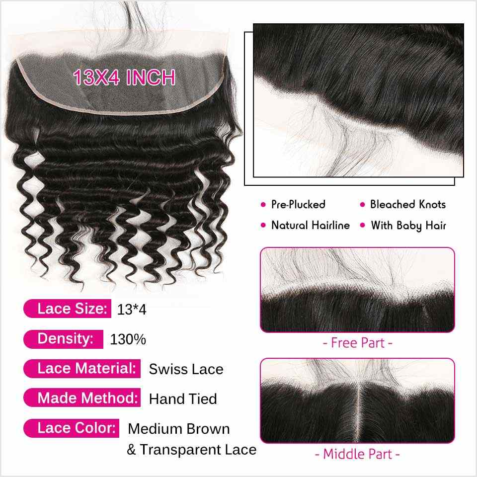 Ali Grace Hair Brazilian Loose Wave With Closure 3 Bundles With 13x4 Free Part Middle Part Ear to Ear Lace Frontal Remy Hair