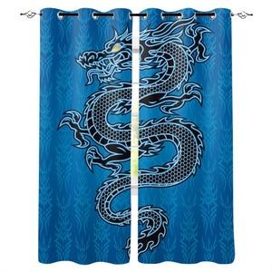 Black Dragon Blauw Gedrukt Gordijnen Woonkamer Slaapkamer Gordijnen Polyester Doek Home Decor