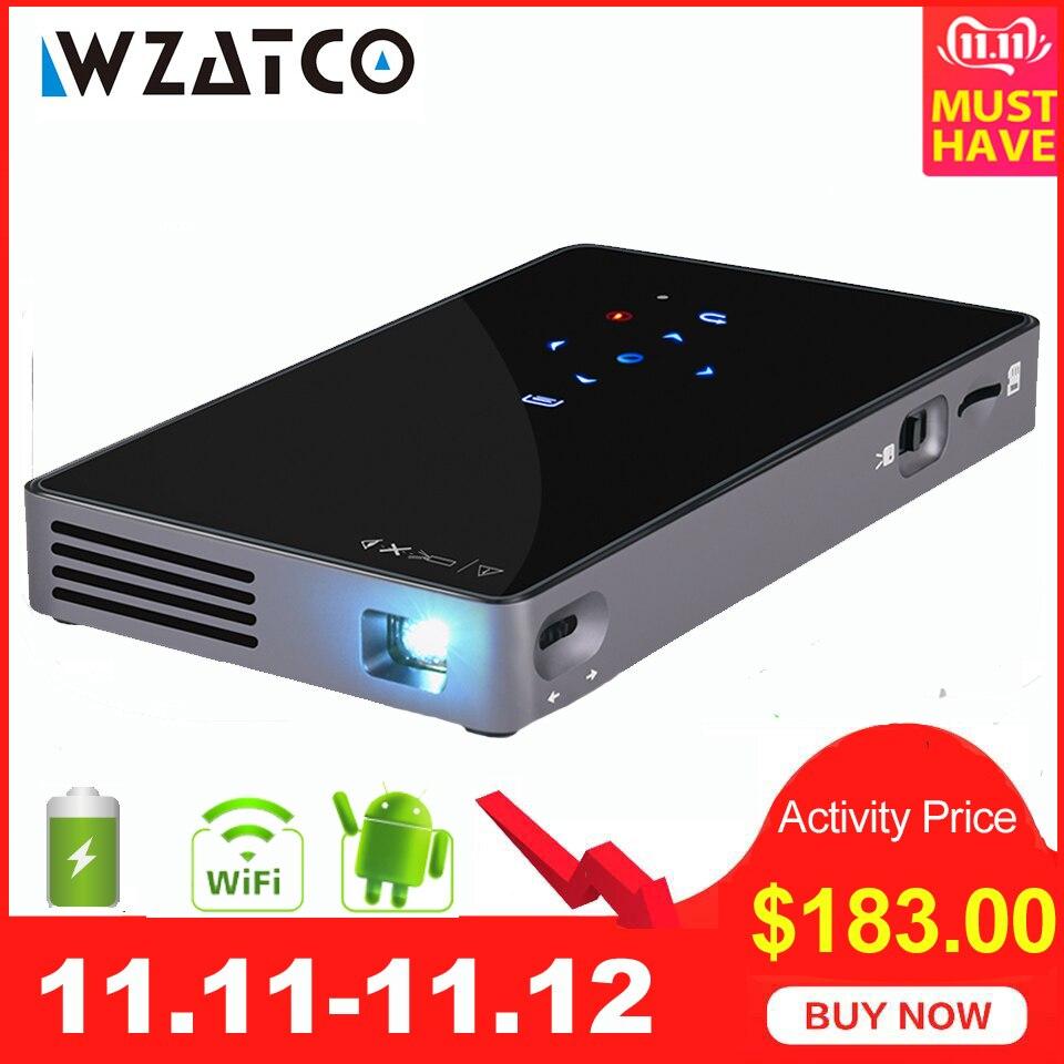 WZATCO CT50 Android 7.1 OS WIFI Bluetooth Pico Mini Micro lAsEr DLP projecteur Portable Proyector avec batterie pour Home cinéma
