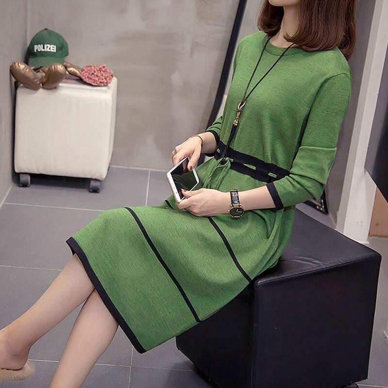 Femmes à manches longues robe pull femmes décontracté automne hiver robe de mode femmes col rond pull surdimensionné robes tricotées vert
