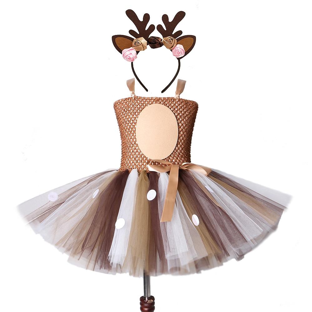 Платье-пачка с изображением оленя для девочек; Рождественские платья с повязкой на голову; Детский костюм на Хэллоуин для маленьких девочек...