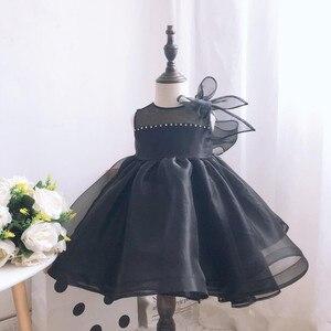 Черная юбка из тюля для маленьких девочек, платье для крещения платье бусины для новорожденных с длинным рукавом свадебное платье Vestido De Noiva ...
