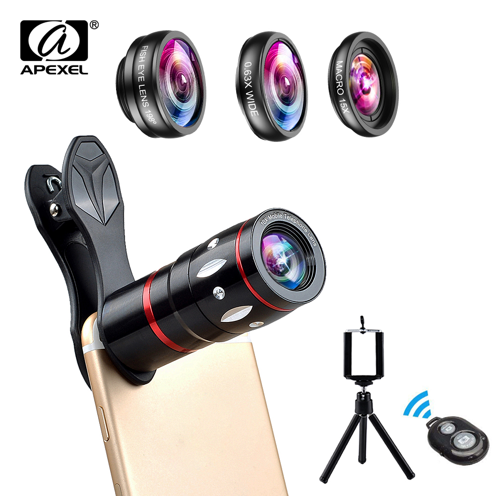 APEXEL Universal 4 in 1 Camera Lens Kit Fisheye + Wide Angle Macro Lens + 10x Telescope Lens For iPhone Samsung More Phones|Mobile Phone Lens| |  - title=