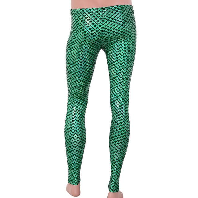Men Boys Mermaid Scale Skinny Pants Man Shiny Wetlook Breathable Leggings Tights For Theme Party Nightclub Stage Dance Costume 6