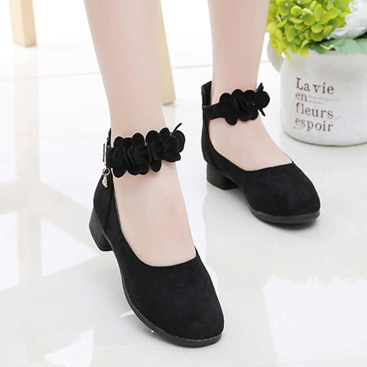 Children Shoes Girls High Heel Flower