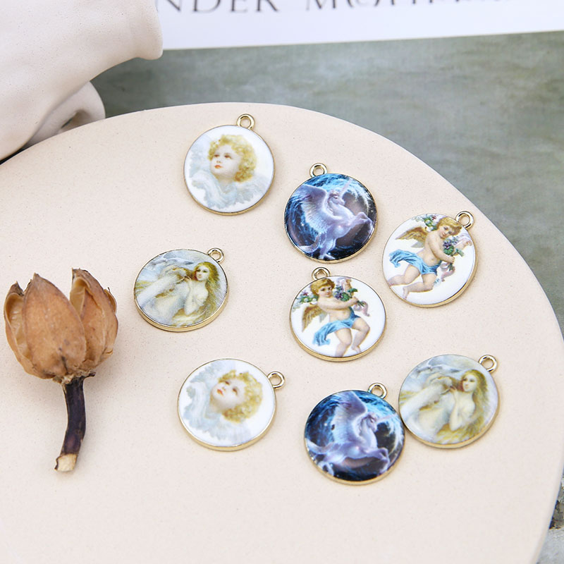 DIY Handmade Jewelry Accessories Retro European Portrait Cherub Licorne Notre Dame Round Brand Earring Headdress Material