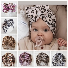 Nishine New Leopard Print Knotted Bow Hat Newborn Infant Toddler Caps Turban Baby Girls Beanie Bonnet Cap Hair Accessories