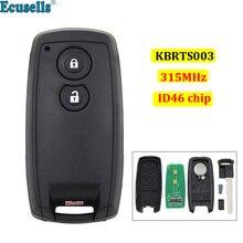 Keyless entrada cartão inteligente remoto chave 2 botões 315mhz com id46 chip para suzuki swift sx4 grand vitara uncut hu133 lâmina kbrts003