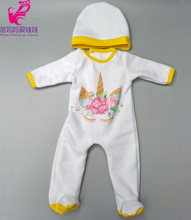 Doll clothes pants pink unicorn romper clothes for 40cm 43cm reborn baby doll wear sets for 18″ baby doll accessories toys wear