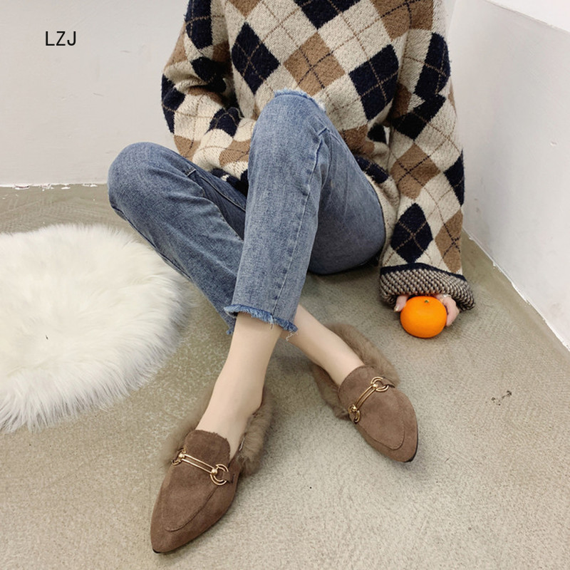 LZJ New 2019 Women's Pointed Shallow Mouth Set Foot Short Plush Warm Fashion Snow Boots Women's Winter Shoes Zapatos De Mujer 41