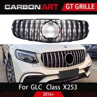 Glc x253 amg-estilo frente corrida malha grill para mb x253 glc200 glc250 glc300 glc450 sport versão prata 2016 +
