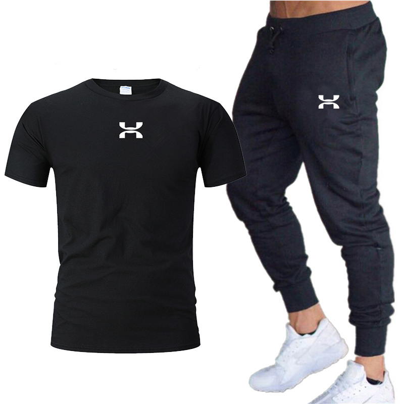 New Men Pants Joggers Sweatpants Jogger Fitness Elastic Cotton GYMS Trousers+Short T-shirt Men's Sets Running Jogging Sportswear