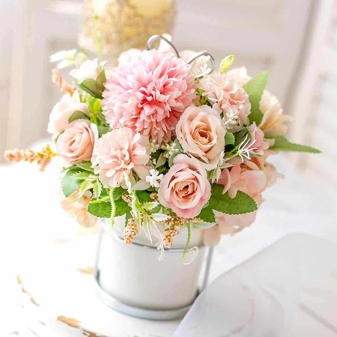 Baru Bunga Mawar Buatan Peony Hydrangea Hybrid Bouquet untuk Pernikahan Dekorasi Bunga Sutra untuk Dekorasi Rumah Bunga Palsu