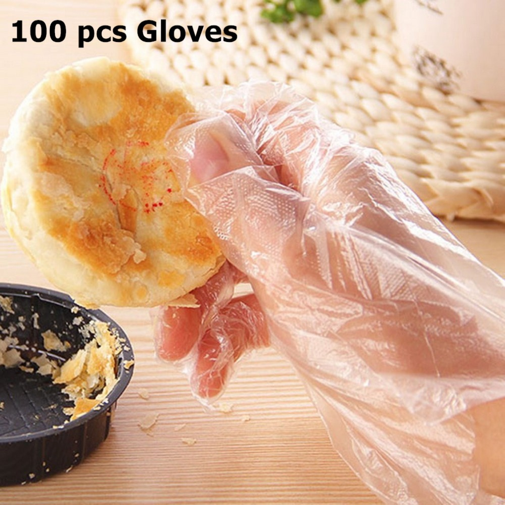 100pcs/Lot Disposable Gloves One-off Plastic Gloves Restaurant BBQ Transparent Eco-friendly PE Gloves Kitchen Garden Accessories
