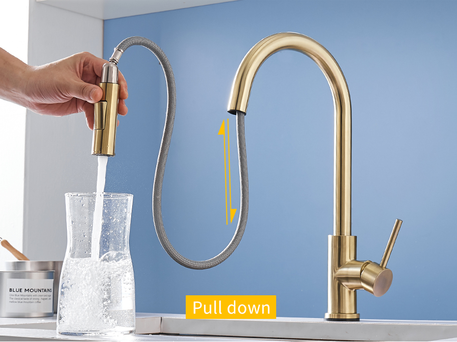 flg brushed gold touch control kitchen faucets smart sensor kitchen tap stainless steel touch faucet pull down sink mixer taps