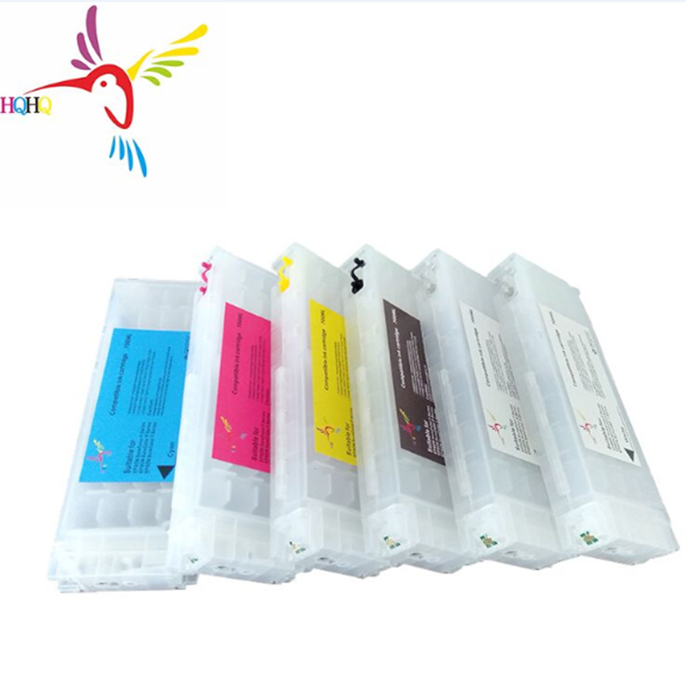 6pcs/Set 700ML New Empty Refill ink cartridge with stable chips For <font><b>Epson</b></font> SureColor <font><b>F2000</b></font> F2100 Printer Refill kits image