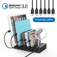 NTONPOWER Station de recharge rapide Dock 60W multi-port USB chargeur avec Charge rapide QC 3.0 pour iphone ipad Kindle tablette