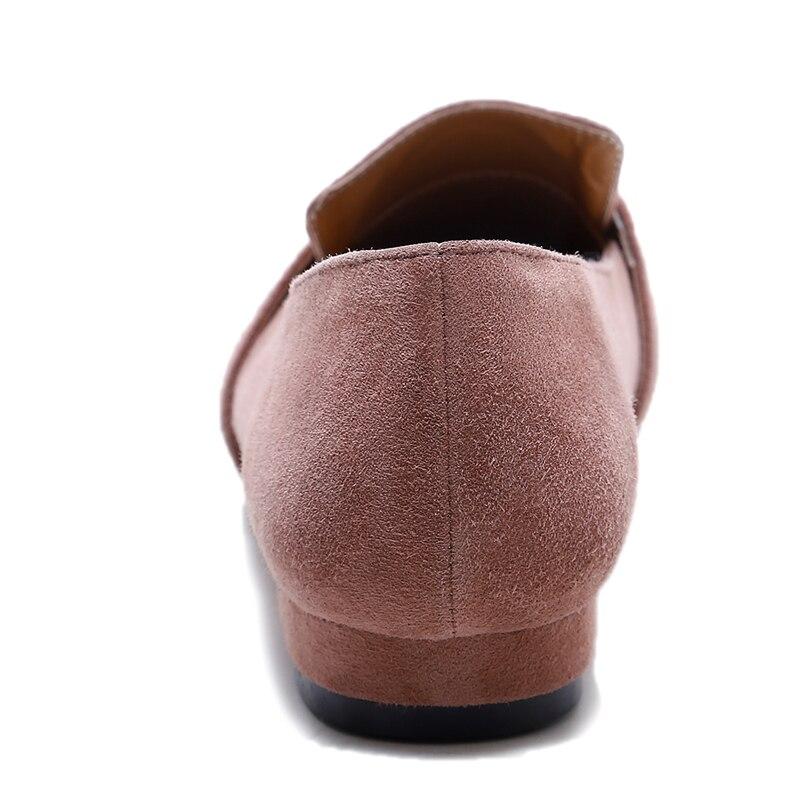 Femmes chaussures plates en cuir de vache véritable nouveau bout carré élégant dames C182 mode femme boucle noir blanc métal décoration chaussures - 3