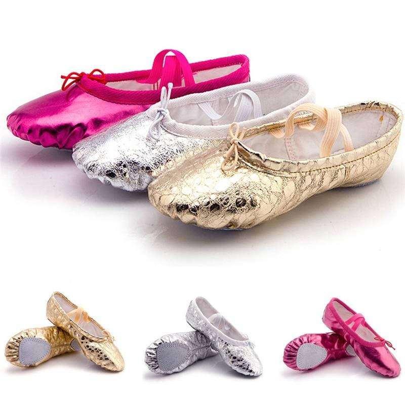 Female Soft Ballet Shoes Women Dance Shoes Pointed Slippers Gymnastics Flats Split Sole Shoes #2G29 (2)