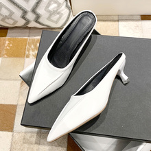 Pointed-toe thin heel Baotou slippers female sandals and slippers outside wear shoes 2020 summer new fashion Muller shoes women stylish women s slippers with pointed toe and solid colour design