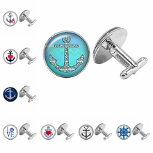 2019 New Nautical Anchor Silver Cufflinks Gothic Glass Cabochon Mens To Send Gifts