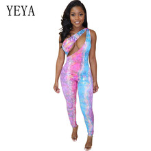 YEYA Sleeveless Long Pants Women Jumpsuits New Fashion Sexy Bodycon Playsuyits Femme Overalls Summer Vintage Printed Rompers