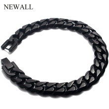 Newall 2019 stainless steel men bracelet chain cuban link gift male jewelry accessory black retro Punk charm hand chain bracelet(China)