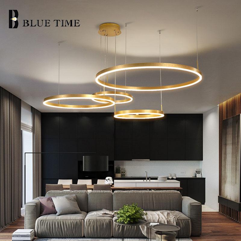 Moderne Led lustre lumière pour salon salle à manger cuisine café or mode LED lustre lampe foyer polaire lustre