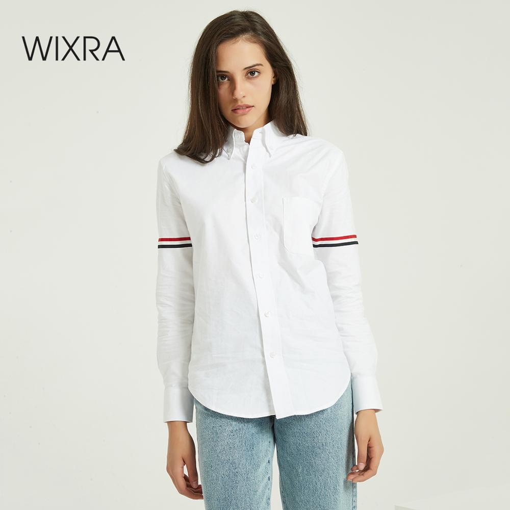 Wixra Women Striped White Blouse Ladies Long Sleeve Basic OL Style Loose Shirts 2020 Autumn Spring Feminine Tops