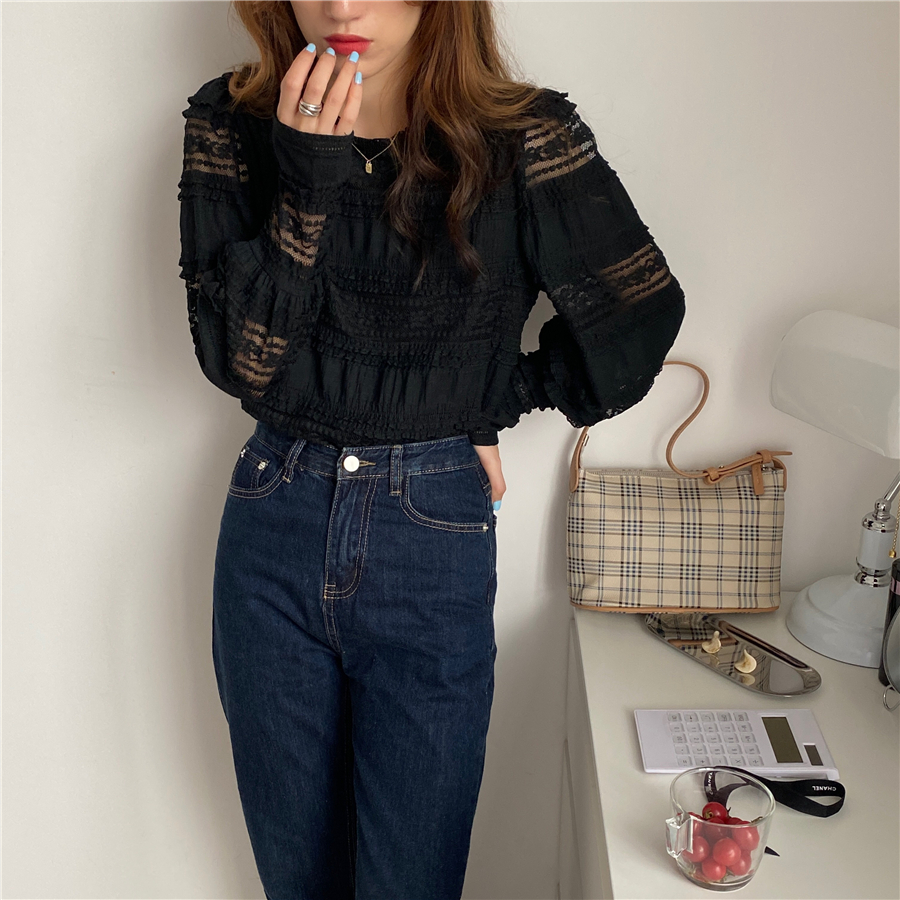 H9267faff6d084f16b6bd18c59028a69av - Spring / Autumn Korean O-Neck Long Sleeves Solid Lace Blouse