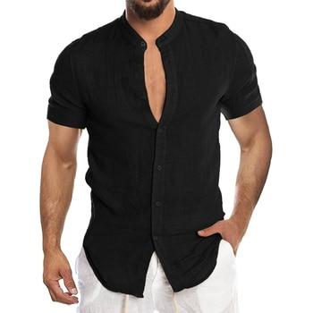 Men's New Summer Casual Cotton Linen Short Sleeve Button Down Shirt For Man Casual Shirts Cotton Shirts Long Sleeve Men Print Shirts Shirts & Tops Slim Fit Summer Shirts T-Shirts Work Shirts Color: Short-Black Size: European Size XXL