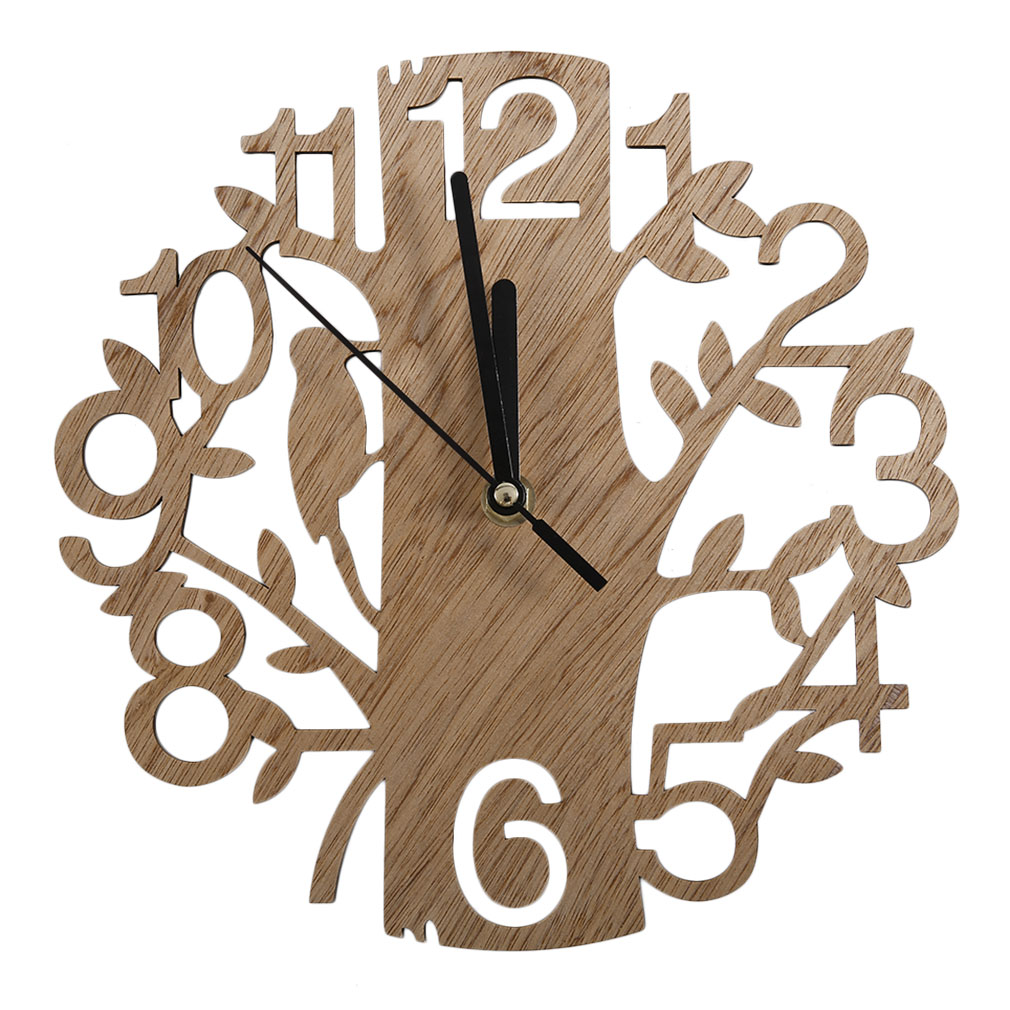 Vintage Design Wood Wall Clock Stylish Home Living Room Coffee Shop Chic Bar Decoration Personality Quiet Clock Square Shape
