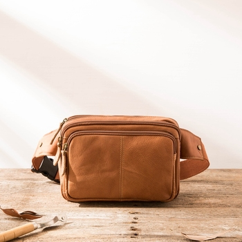 New men's chest bag messenger bag small men mini shoulder small bag leather retro mobile phone bag leather waist bag